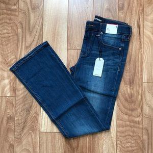 Express mid rise boot cut jeans, dark wash